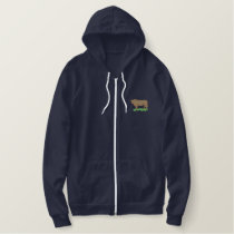 Red Angus Embroidered Hoodie