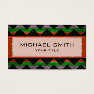 Red anh Green Modern Chevron Pattern Business Card