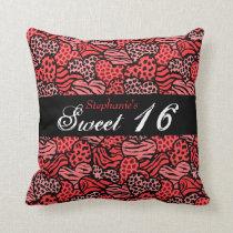 Red animal pattern hearts Sweet Sixteen Pillow