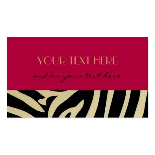 Red Animal Print Double Sided Standard Business Cards