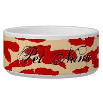 Red Animal print fur of leopard Bowl