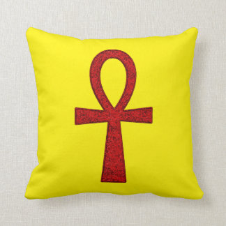 Red Ankh Throw Pillow