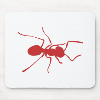 Red Ant Silhouette Mouse Pads