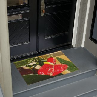 Red, Anthurium, Tropical, Flower, Doormat, Home