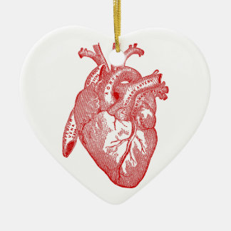 Red Antique Anatomical Heart Ceramic Ornament