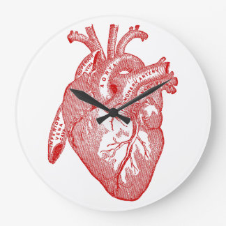 Red Antique Anatomical Heart Large Clock
