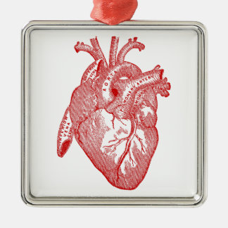 Red Antique Anatomical Heart Metal Ornament