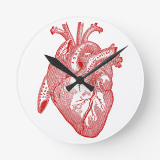 Red Antique Anatomical Heart Round Clock