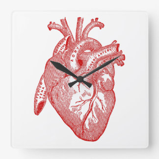 Red Antique Anatomical Heart Square Wall Clock
