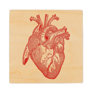 Red Antique Anatomical Heart Wood Coaster