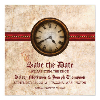 Red Antique Clock Save the Date Announcement