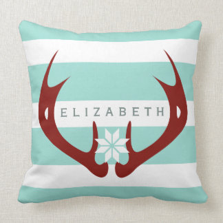 Red Antlers Snowflake 2 - Blue Throw Pillow