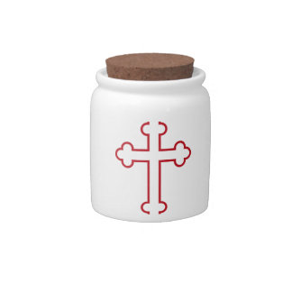 red apostles cross or budded cross candy jar