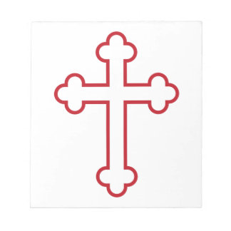 red apostles cross or budded cross scratch pads