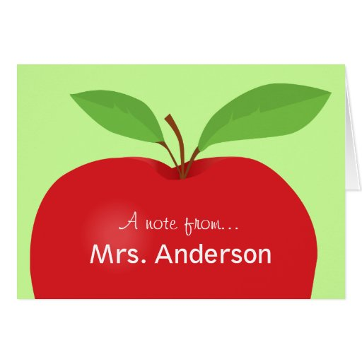 Red Apple A note from teacher notecard Stationery Note Card