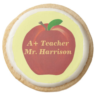 Red Apple A Plus Teacher Personalized Cookies Round Premium Shortbread Cookie