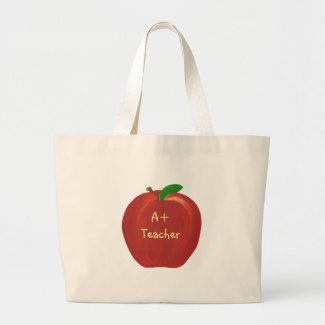 Red Apple, A+ Teacher, canvas bags