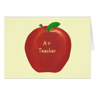 Red Apple, A+ Teacher card, custom verse Card