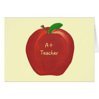 Red Apple, A+ Teacher card, custom verse Card