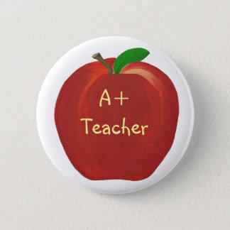 Red Apple, A+ Teacher pin on buttons