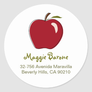 Red Apple Address Labels Classic Round Sticker