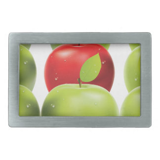 Red apple among green apples rectangular belt buckle