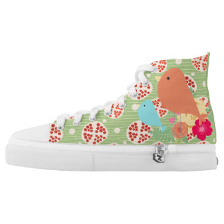 Red Apple and Birds flowers High-Top Sneakers