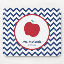 Red Apple and Navy Chevron Teacher Mousepad