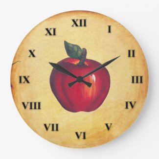 Red Apple Antique Look Large Clock