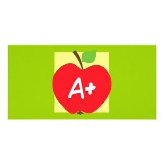 RED APPLE APLUS GRADES SCHOOL EDUCATION TEACHING PHOTO GREETING CARD