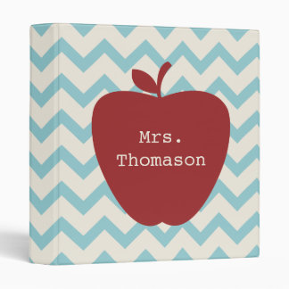 Red Apple Aqua Chevron Teacher Binder