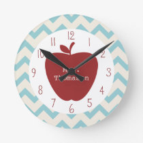 Red Apple Aqua Chevron Teacher Clock
