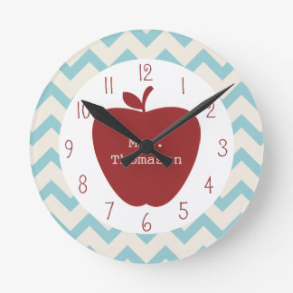 Red Apple Aqua Chevron Teacher Clock