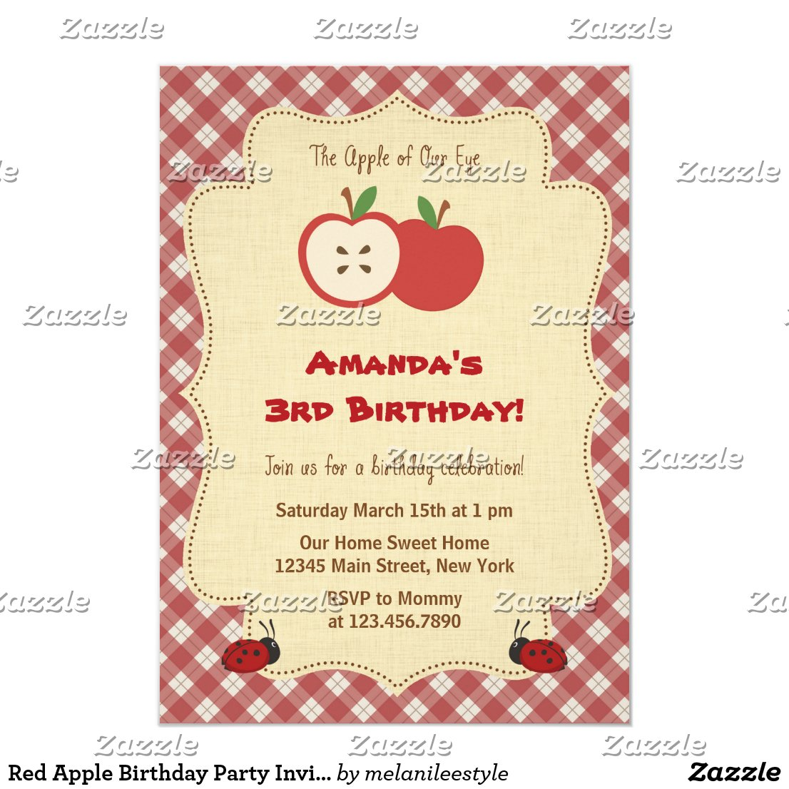 Red Apple Birthday Party Invitation