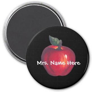 Red Apple Black 3 Inch Round Magnet