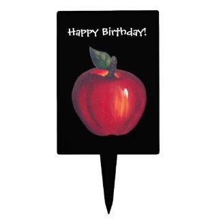 Red Apple Black Cake Topper