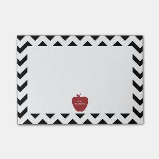 Red Apple Black Chevron Teacher Post-it® Notes