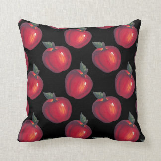Red Apple Black Throw Pillow
