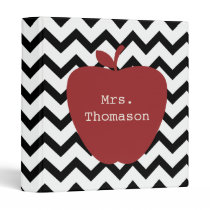 Red Apple Black & White Chevron Teacher Binder
