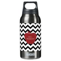 Red Apple Black & White Chevron Teacher Insulated Water Bottle
