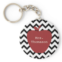 Red Apple Black & White Chevron Teacher Keychain