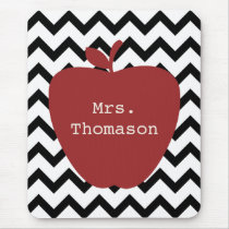 Red Apple Black & White Chevron Teacher Mouse Pad