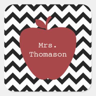 Red Apple Black & White Chevron Teacher Square Sticker