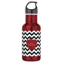 Red Apple Black & White Chevron Teacher Stainless Steel Water Bottle