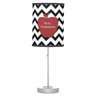 Red Apple Black & White Chevron Teacher Table Lamp