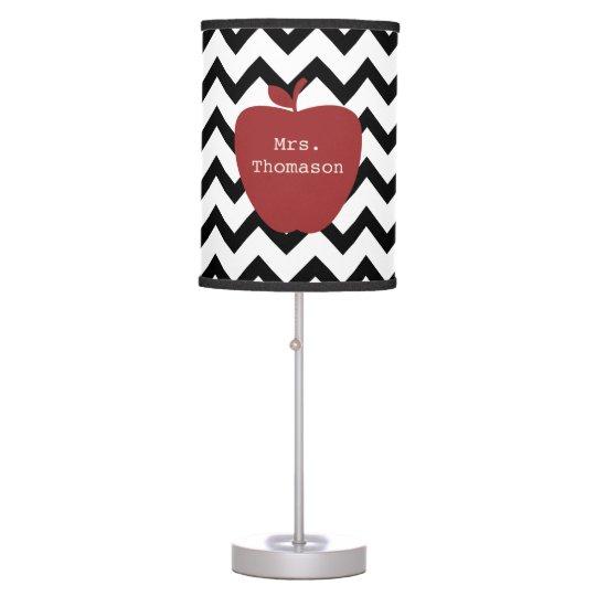 Red Apple Black Amp White Chevron Teacher Table Lamp