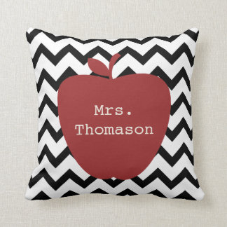 Red Apple Black & White Chevron Teacher Throw Pillow