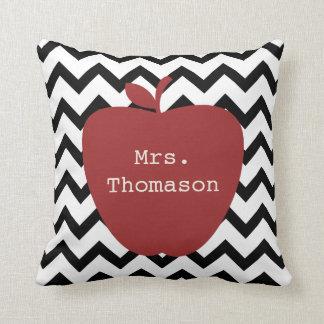 Red Apple Black & White Chevron Teacher Throw Pillow