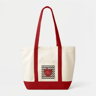 Red Apple Black & White Chevron Teacher Tote Bag
