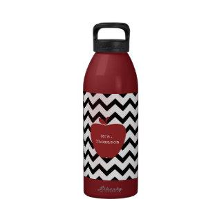Red Apple Black & White Chevron Teacher Drinking Bottle